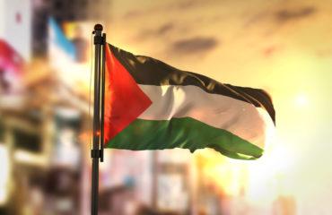 Palestine Flag Against City Blurred Background At Sunrise Backlight