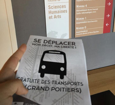 Tract pour la gratuité des transport (Poitiers)
