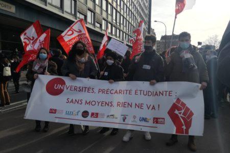 Mobilisation du 20 janvier: Des milliers d'étudiant·e·s mobilisé·e·s contre la précarité et pour le retour des cours en présentiel. Amplifions la mobilisation le 26 janvier !